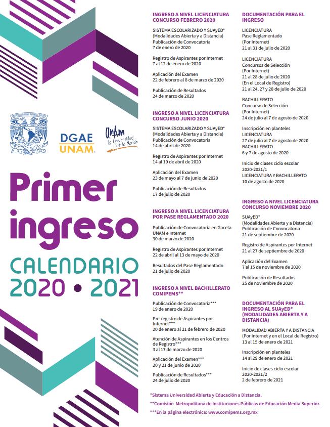 Calendario UNAM 2020 - 2021